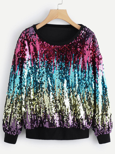 Contrast Sequin Round Neck Sweatshirt