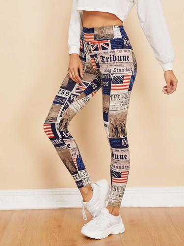 Newspaper Print Leggings - Multicolor