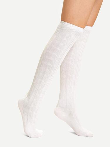 Over The Knee Socks - White