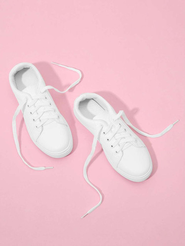 Lace Up Plain Sneakers - White