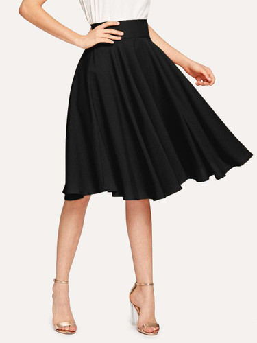 High Rise Wide Waistband Circle Skirt - Black