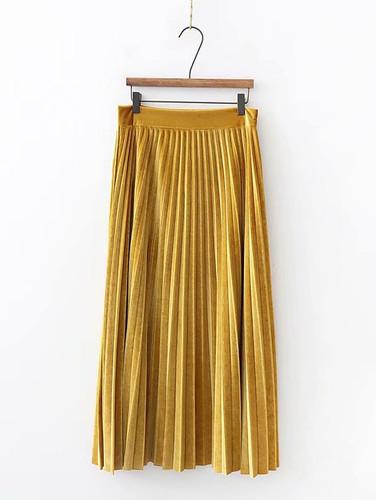 Solid Pleated Velvet Skirt