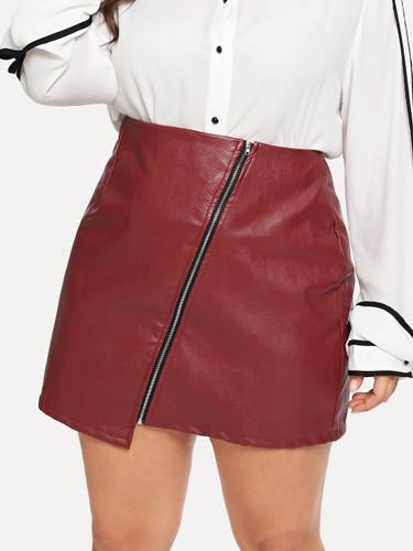 Plus Zipper Decoration Skirts