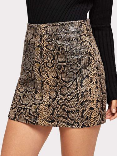 Zip Up Snake Print Skirt