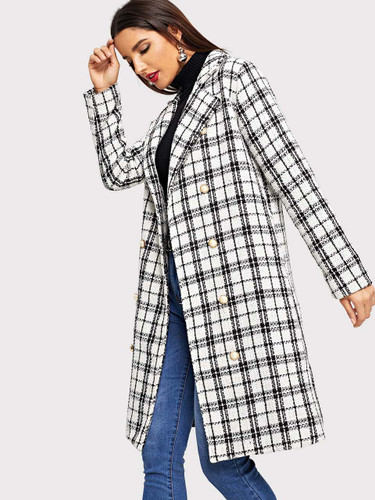 Tweed Double Breasted Plaid Coat