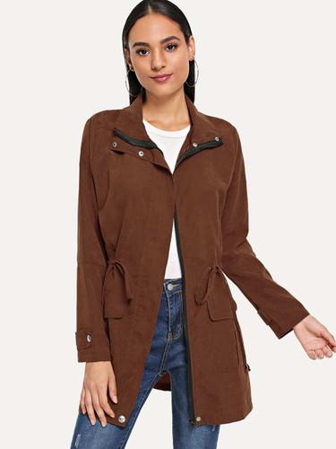 Solid Drawstring Waist Coat - Brown
