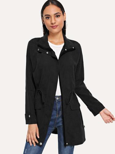 Solid Drawstring Waist Coat - Black