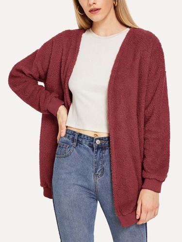 Drop-Shoulder Teddy Coat - Burgundy