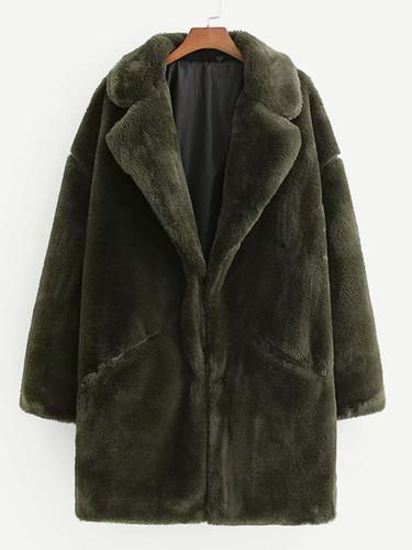 Drop Shoulder Solid Teddy Coat