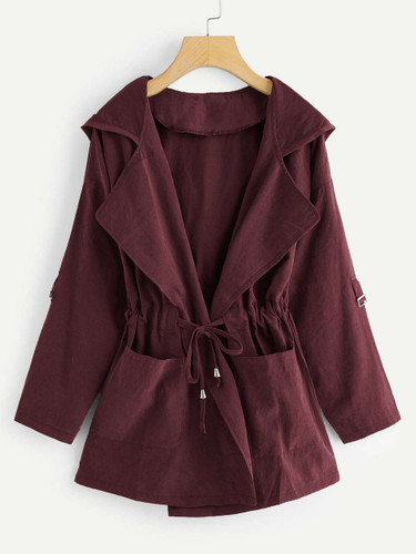 Plus Knot Front Ruched Hooded Coat