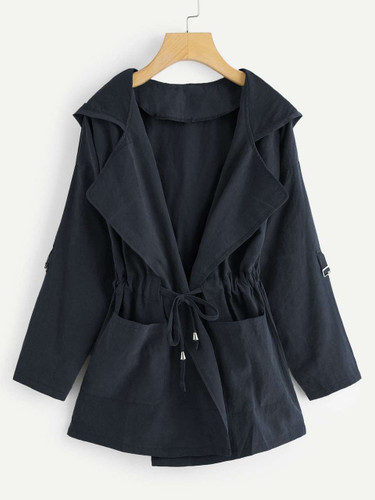 Plus Knot Front Ruched Hooded Coat - Navy