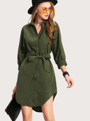 Self Tie Waist Solid Utility Shirt Dress