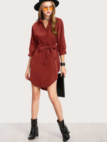 High Low Curved Hem Shirt Dress - Red