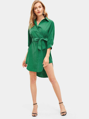 Curved Hem Self Tie Waist Shirt Dress