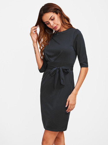 Hidden Pocket Side Self Tie Dress