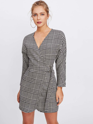 Surplice Neckline Self Tie Houndstooth Dress