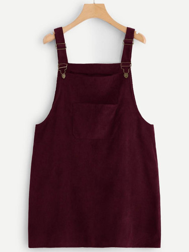 Plus Pocket Front Corduroy Pinafore Dress - Burgundy
