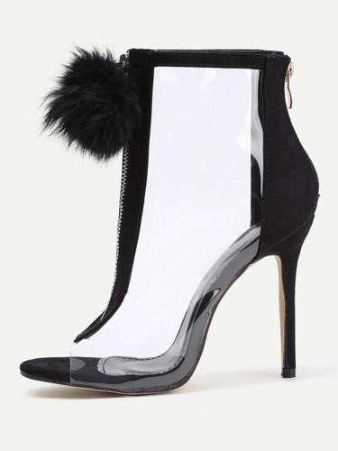 Pom Pom Front Zipper Design Stiletto Heels