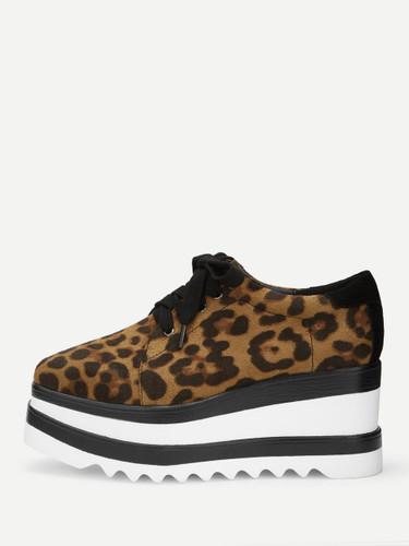 Leopard Print Lace-up Wedges