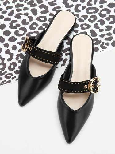 Studded & Buckle Decorated Flat Mules