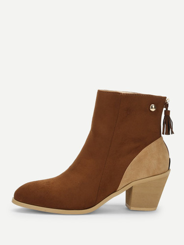 Tassel Decor Color-block Chunky Boots