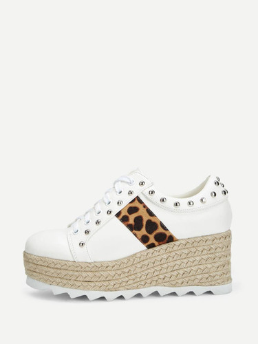 Studded Detail Leopard Pattern Lace-up Wedges