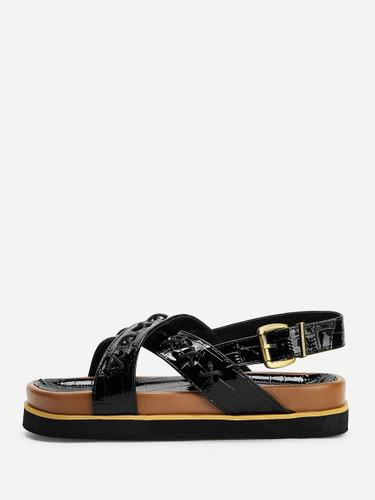 Criss Cross Decor Chunky Sandals