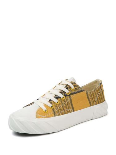 Plaid Detail Lace-up Canvas Sneakers