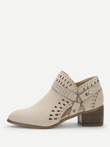 Cut-out Studded Detail Chunky Boots