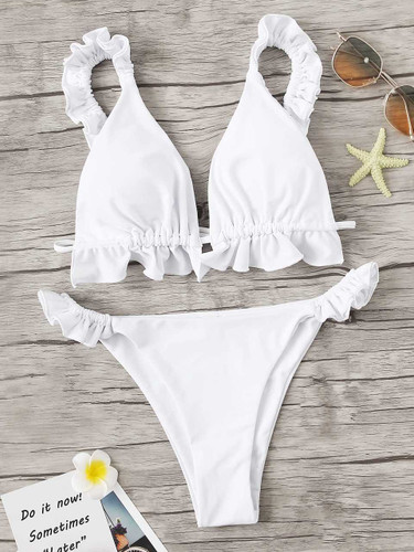 Frill Top With Tanga Bottom Bikini Set