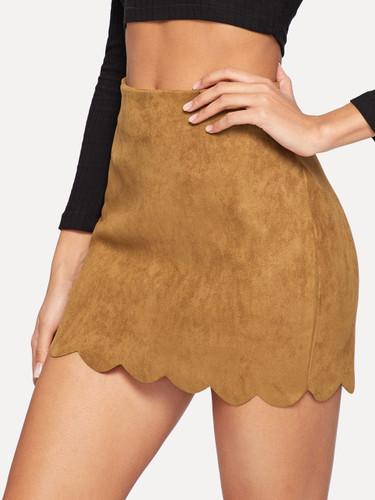 Scallop Hem Suede Skirt
