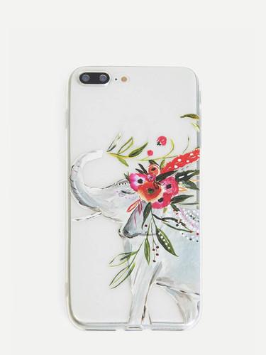 Elephant & Flower Pattern iPhone Case