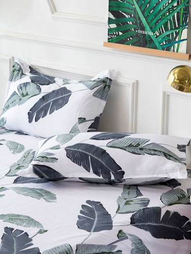 Leaf Print Pillowcase 1Pair - Multicolor