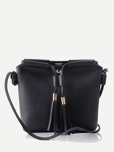 Tassel Detail Crossbody Bag - Black