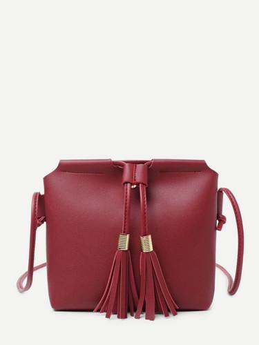 Tassel Detail Crossbody Bag - Red