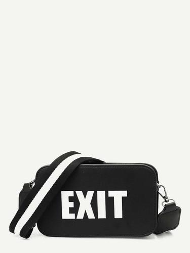 Slogan Detail Bag With Striped Strap