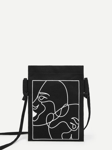 Abstract Figure Print Canvas Crossbody Bag