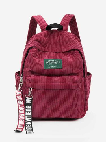Slogan Ribbon Corduroy Backpack - Red