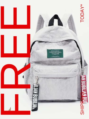 Slogan Ribbon Corduroy Backpack - White