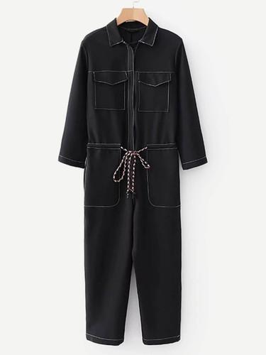 Drawstring Waist Pocket Front Jumpsuit