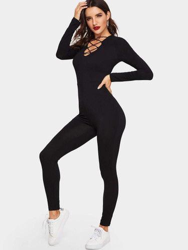 Crisscross V Neck Fitted Jumpsuit