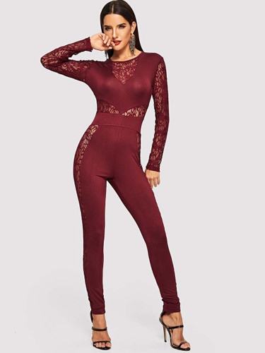Lace Insert Solid Tailored Jumpsuit