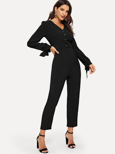Knot Sleeve Button Front Jumpsuit