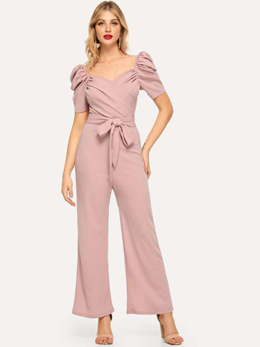 Gathered Sleeve Surplice Neck Ruched Jumpsuit - Pink