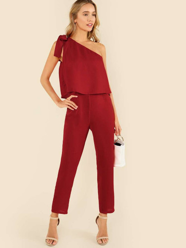 Tied One Shoulder Two Layered Tailored Jumpsuit