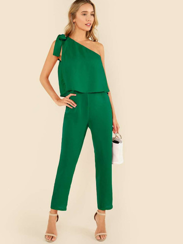 Tied One Shoulder Ruffle Embellished Jumpsuit - Green