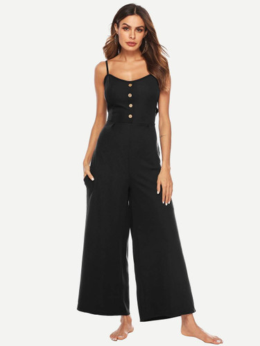 Button Front Knotted Back Wide Leg Jumpsuit