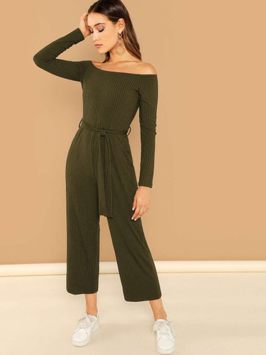 Off Shoulder Tie Waist Wide Leg Jumpsuit - Army Green