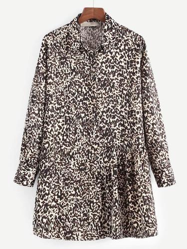 Leopard Print Shirt Dress - Multicolor