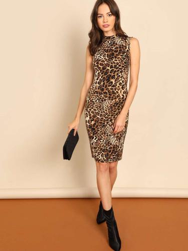 Mock-Neck Leopard Print Dress